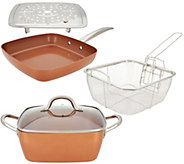 Copper Chef 9.5 Square Casserole Pan, 9.5 Skillet & Accessories - K46134