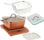 Copper Chef Induction Cooktop w/ 11 Casserole Pan & Glass Press - K45837