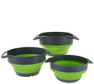 Cooks Essentials S/3 Collapsible Nesting Bowls & Strainer Set - K43638
