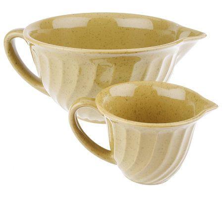 paula deen 2 pc speckled ceramic mixing bowl set w pour spouts page 1. Black Bedroom Furniture Sets. Home Design Ideas