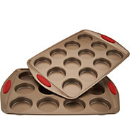 As Is Rachael Ray (2) 12 Mini Cake Pans with Silicone Handles - K307640