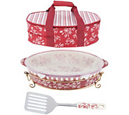 As Is Temp-tations Floral Lace 3qt Pack n Go Baker w/Tote - K308040