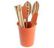 Rachael Ray Stoneware Crock with 5-piece Bamboo Tool Set - K31340