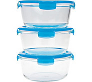 Lock & Lock Set of 3 Round Glass Storage Set - K43640