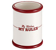 Cake Boss Ceramic Tool Crock with My Kitchen,My Rules - K302441
