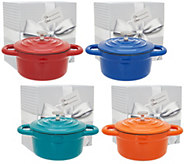 Cooks Essentials (4) 10 oz Cast Iron Casseroles in Gift Boxes - K46141