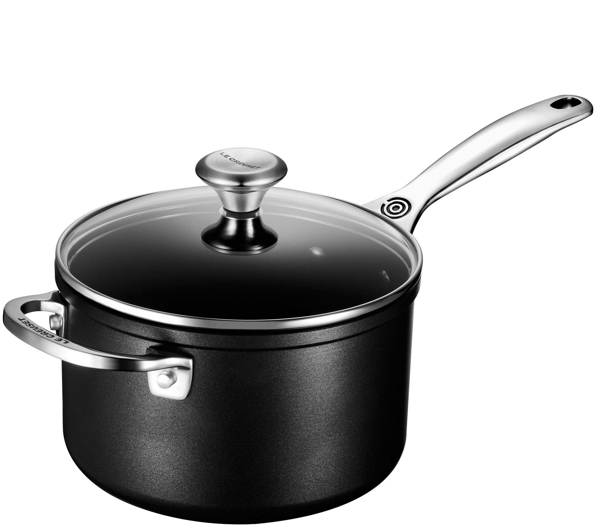 le creuset nonstick 3 qt saucepan with glass lid. Black Bedroom Furniture Sets. Home Design Ideas