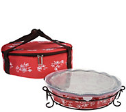 As Is Temp-tations Floral Lace Pie Plate with Tote - K307842