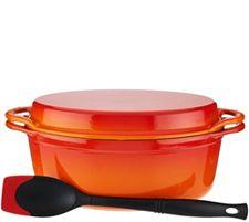 Le Creuset 4.5 qt Oval Dutch Oven w/Grill Pan Lid & Accessories