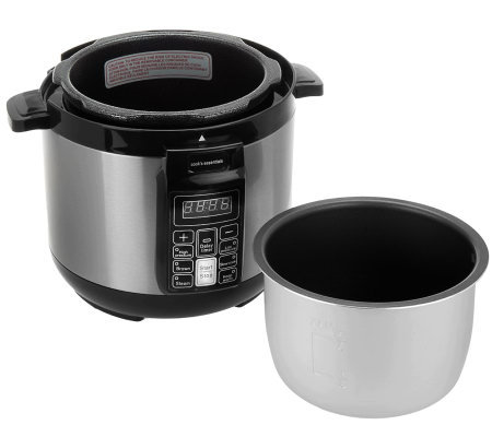 CooksEssentials 2 qt. Nonstick Stainless Steel Digital Pressure Cooker