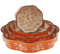 Temp-tations Floral Lace Set of 4 Nested Cake Pans - K41443