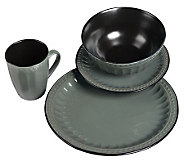 Tabletops Gallery Gray Beads 16-Piece Dinnerware Set - K299845