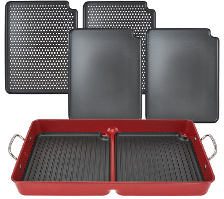 As is cooks essentials 7 pc bbq grillpan with removable nonstick plates - Health grill with removable plates ...