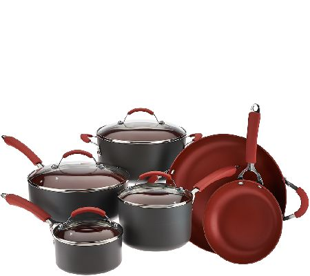 CooksEssentials 10-Piece Hard Anodized Dishwasher Safe Cookware Set