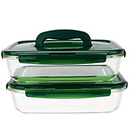 Lock & Lock Set of 2 Glass Rectangles w/ Handles - K43346