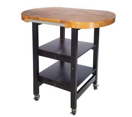 Folding Island Oval Shape Kitchen Cart w/Butcher Block Style Top ? QVC.com