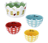 Temp-tations Set of 4 Gingham Garden Measuring Cups - K42047