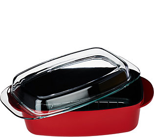CooksEssentials Essentials 2in1 6 qt Aluminum Casserole w/ Rack& Glass Lid