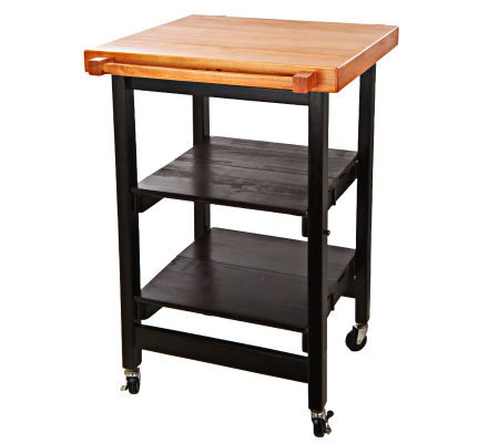 Folding island kitchen cart w butcher block style top for Collapsible kitchen cart