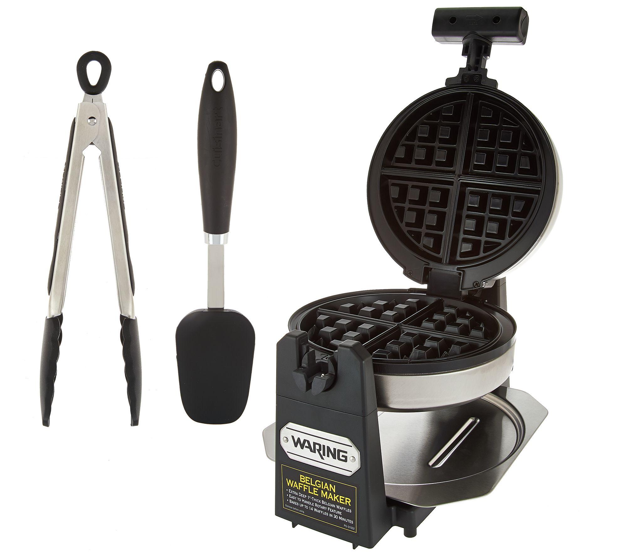waring stainless steel belgian waffle maker with spatula u0026 tongs page 1 u2014 qvccom - Waring Pro Waffle Maker