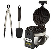 Waring Stainless Steel Belgian Waffle Maker with Spatula & Tongs - K44548