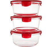 Lock & Lock Set of 3 Vented Glass Bowls - K45048