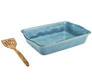 Rachael Ray Cucina Rustica 9x13 Baker with Acacia Wood Tool - K39949