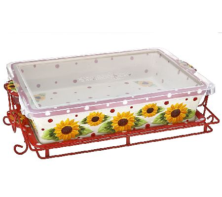 Temp-tations Sunflower Baker w/Lid-it, Wire Rack and Lid