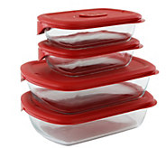 Pyrex Pro 8-Piece Fluted Bake And Serve Set With Vented Lids - K305751