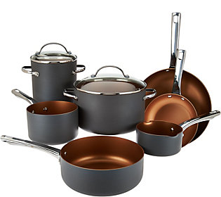 As Is Cook's Essentials 10pc Non Stick Hard Anodized Cookware Set