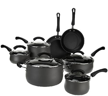 Cooks Essentials 12-Piece Hard Anodized Belly Shaped Cookware