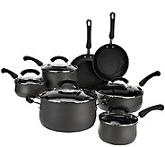 CooksEssentials 12-Piece Hard Anodized Belly Shaped Cookware Set - K43051