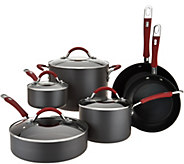 Cooks Essentials 10pc Hard Anodized Cookware Set w/ Red Handles - K45551