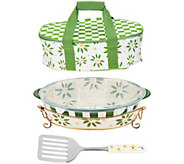 Temp-tations Old World 3qt Pack n Go Baker with Tote & Server - K46051