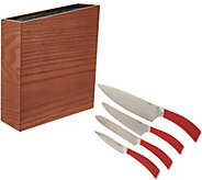 Valerie Bertinelli 4pc Cutlery Set with Wood Block Storage - K46651