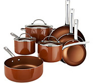 CooksEssentials 10-pc Porcelain Enamel Dishwasher Safe Cookware Set - K45552