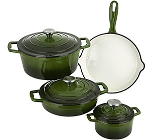 As Is Cook's Essentials 7 Pc Gradient Cast Iron Cookware Set