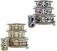 Temp-tations Old World or Floral Lace 9-piece Oval Bakeware Set - K46954