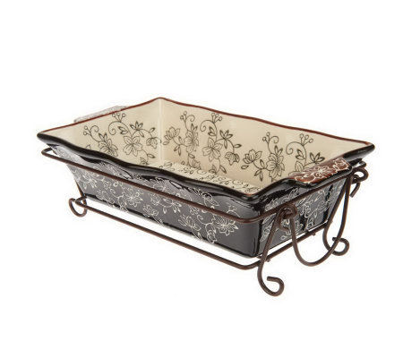 As Is Temp Tations Floral Lace Loaf Pan With Drip Tray