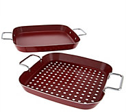 Easy-Storage 2-piece BBQ Grill & Griddle Set - K44156