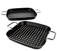 As Is Easy-Storage 2-piece BBQ Grill Griddle Set - K307557