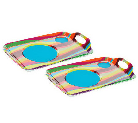 Set of 2 Lappers Dining Lap Trays with Silicone Mats