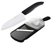 Kyocera 5.5 Santoku Knife & Adjustable SlicerSet - Black - K132759