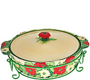 Temp-tations 2.5 qt. Figural Floral Baker with Lid & Wire Rack - K42259