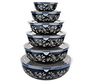 Temp-tations Floral Lace Set of 6 Nesting Bowl Set - K46959