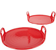 As Is Cooks Essentials Set of 2 Nesting Microwave Trays - K307761
