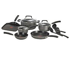 T-Fal Signature Total Nonstick 12-Piece Cookware Set - Black