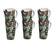 Tabletops Gallery Set of 6 18-Oz Mugs - Cherise - K299064