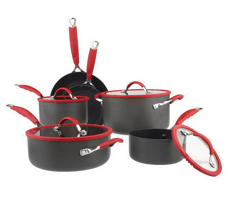 gordon ramsay nonstick anodized dishwasher safe 10pc cookware qvc