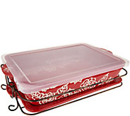 Temp-tations Carved Floral 13x9 Baker with Lid-it & Rack - K46066
